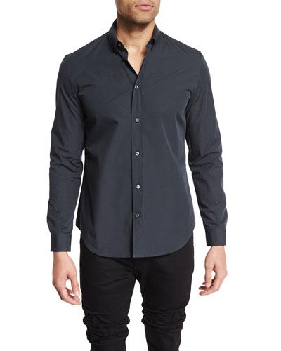 Textured-Print Long-Sleeve Sport Shirt, Black