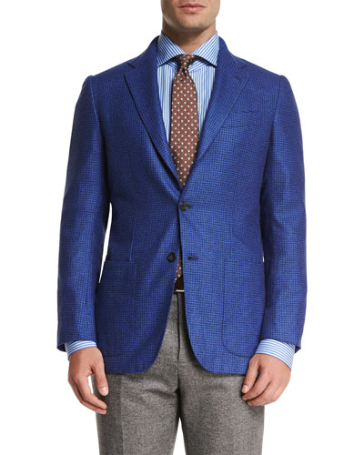 Tonal Houndstooth Three-Button Sport Coat, Blue