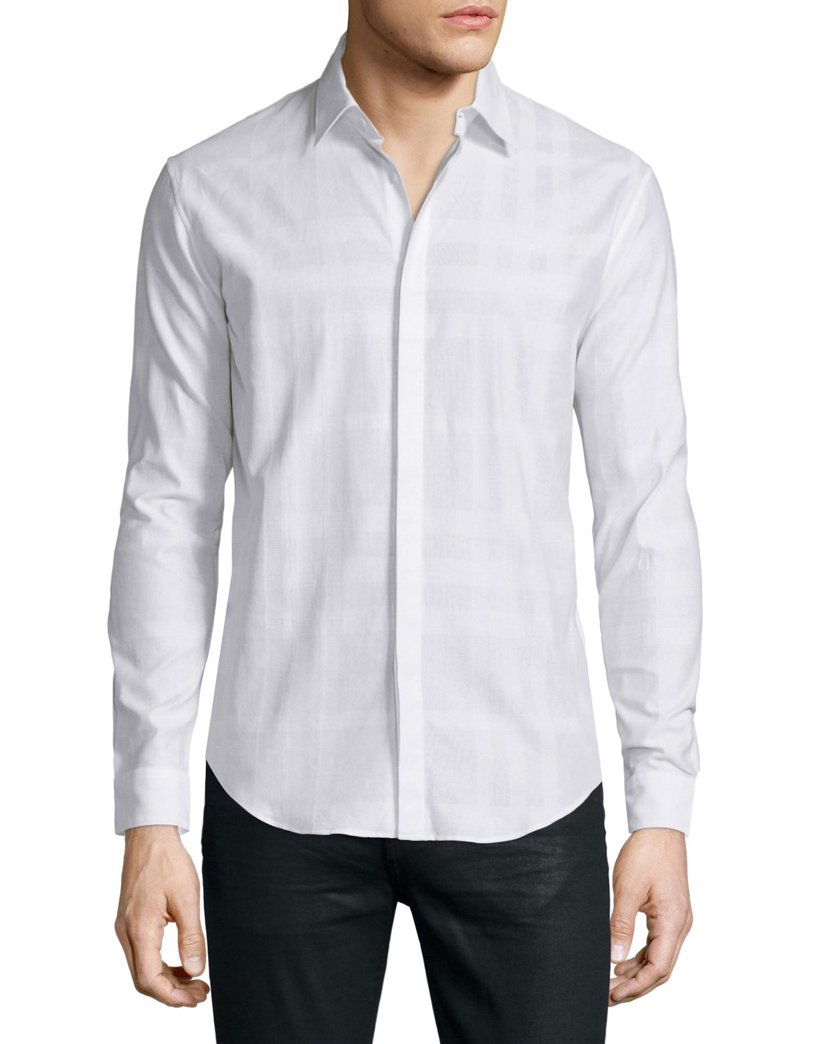Modern Fit Check Sport Shirt, White