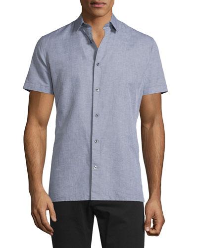 Linen-Blend Short-Sleeve Shirt, Smoke