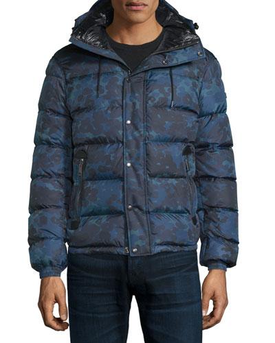 Myton Camo-Print Nylon Puffer Jacket, Stone Blue