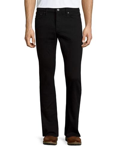 Five-Pocket Straight-Leg Denim Jeans, Black