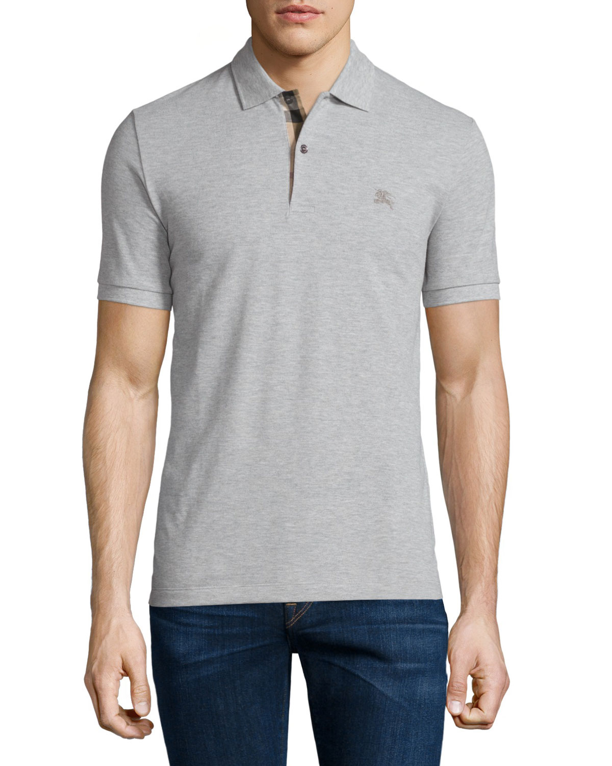 Short-Sleeve Pique Polo Shirt, Pale Gray