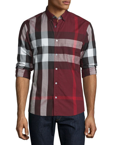 Exploded Check Long-Sleeve Sport Shirt, Claret
