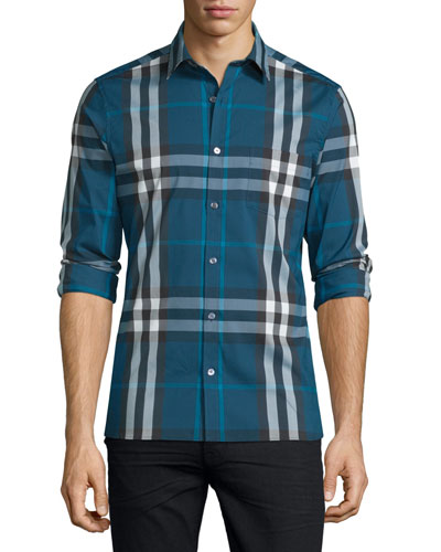 Nelson Tight-Check Sport Shirt, Marine Blue