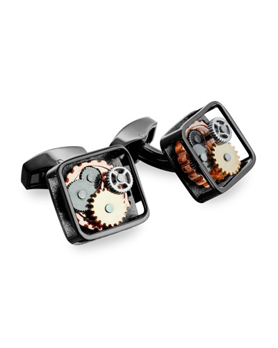 Gunmetal Gear Cuff Links, Silvertone