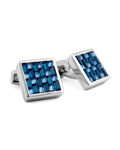 Silver Interlock Swarovski Crystal Cuff Links