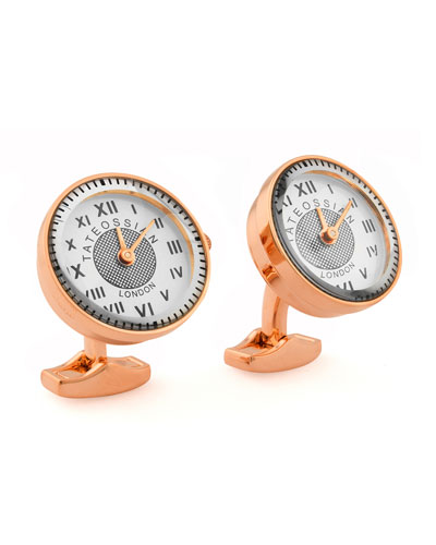 Rose Gold-Plated Watch Cuff Links