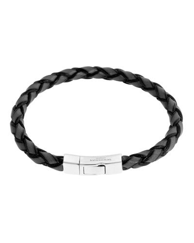 Men's Braided Leather Silver Bracelet – L, Silver