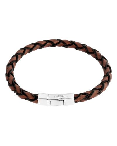 Men's Braided Leather Silver Bracelet – L, Brown