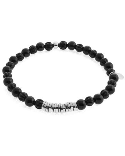 Men's Round Onyx Beaded Bracelet