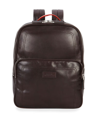 Smooth-Leather Backpack, Dark Brown