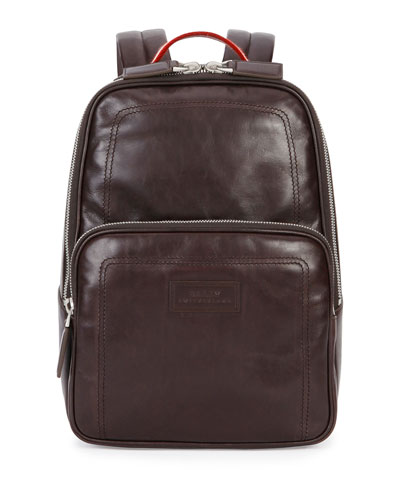 Small Smooth-Leather Backpack, Dark Brown