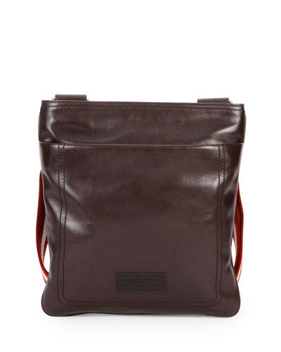 Smooth Leather Messenger Bag, Dark Brown