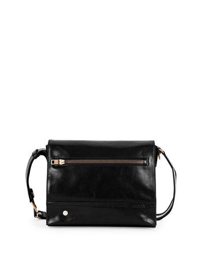 Smooth-Leather Messenger Bag, Black