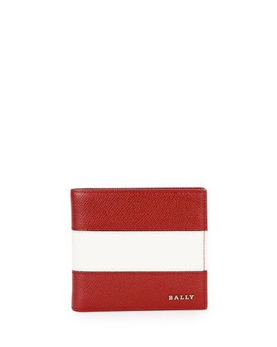 Striped Leather Bi-Fold Wallet, Dark Red