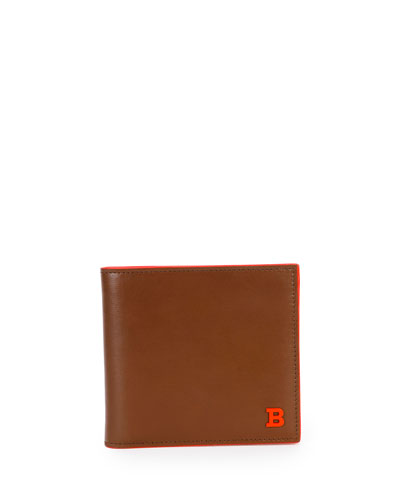 Brasai Leather Bi-Fold Wallet, Tan/Orange