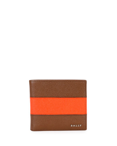 Lollten Striped Leather Bi-Fold Wallet, Tan/Orange