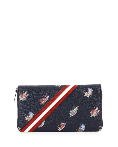 Printed Leather Zip-Around Wallet, Dark Blue