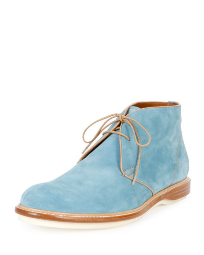 Strauss Suede Lace-Up Boot, Blue