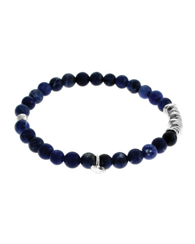 Men's Round Sodalite Beaded Bracelet