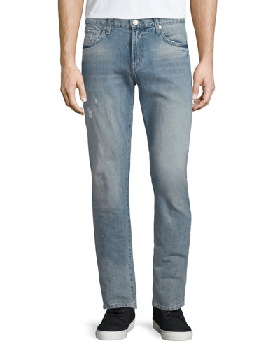Tyler Deconstructed Slim Denim Jeans, Light Blue