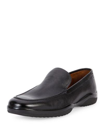 Mils Textured Leather Slip-On Loafer, Black