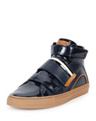 Herick Leather High-Top Sneaker, Navy