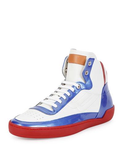 Ethyx Men's Colorblock Patent Leather High-Top Sneaker, Multi