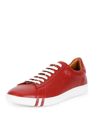 Asher Perforated Leather Low-Top Sneaker, Multi