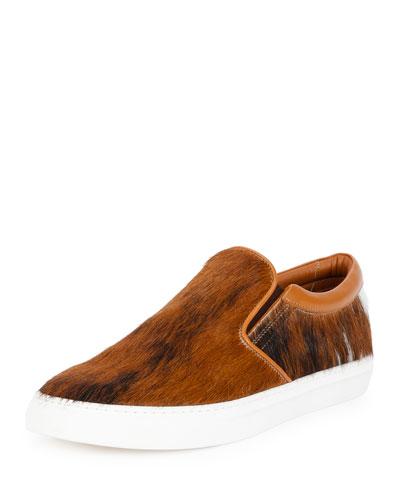 Herms Calf-Hair Slip-On Sneaker, Brown