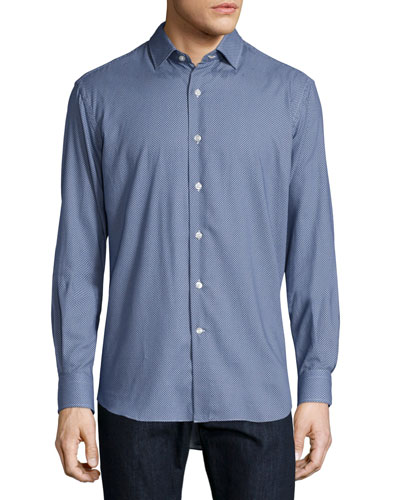 Mini Dot-Print Sport Shirt, Blue