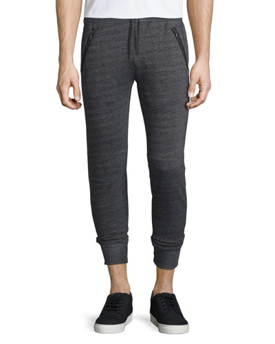 Textured Knit Drawstring Jogger Pants, Black