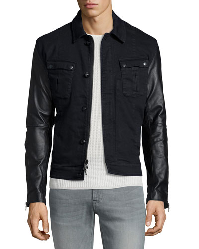 Button-Down Military Jacket with Leather Sleeves, Atlantic