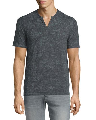 Short-Sleeve Henley T-Shirt, Dusted Blue