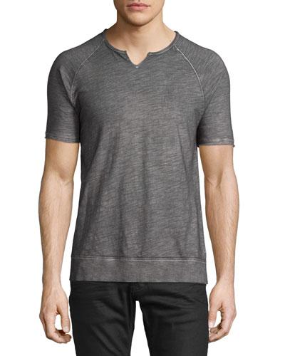 Raglan-Sleeve Split-Neck T-Shirt, Cast Iron