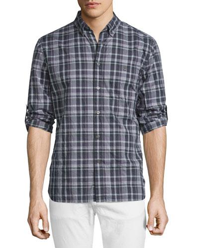 Slim-Fit Plaid Sport Shirt, Plum