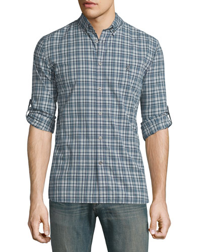 Slim-Fit Plaid Sport Shirt, Denim
