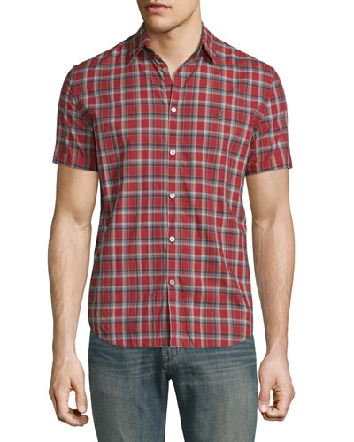 Slim-Fit Check Short-Sleeve Sport Shirt, Red Clay