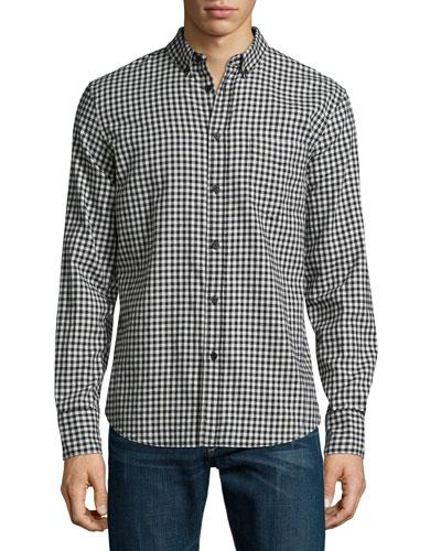 Yokohama Check Long-Sleeve Sport Shirt, Black