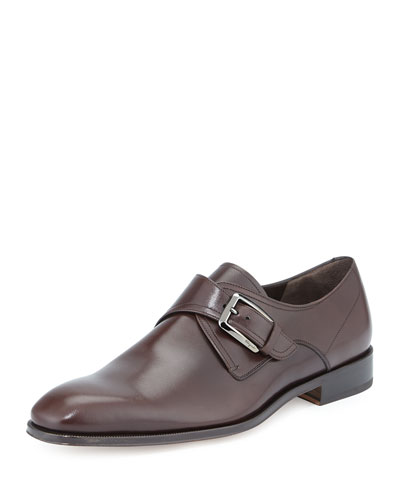 Modugno Calfskin Single Monk-Strap, Brown