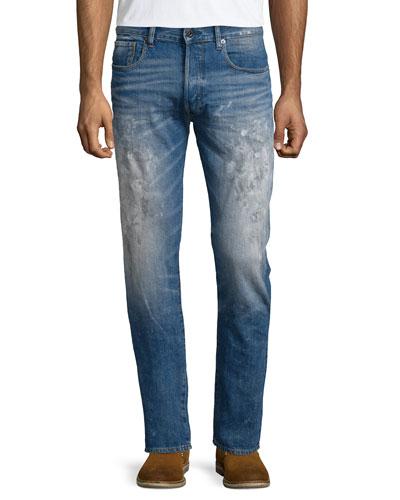Faded Denim Jeans with Paint Details, Scatter Denim
