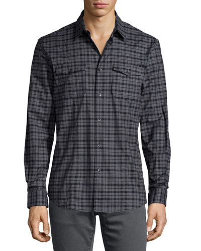 Check Long-Sleeve Sport Shirt, Gray