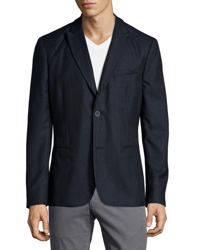 Flannel Two-Button Soft Jacket, Gray