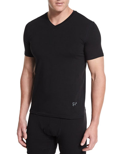 Modal/Cotton V-Neck Tee, Black