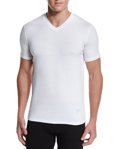 Modal/Cotton V-Neck T-Shirt, White