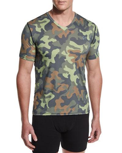 Camo-Print Mesh V-Neck T-Shirt, Camo