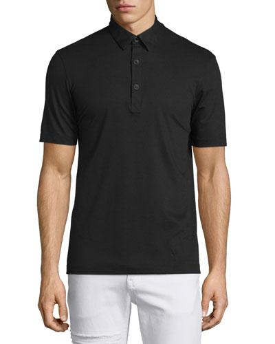 Short-Sleeve Pique Polo Shirt, Black