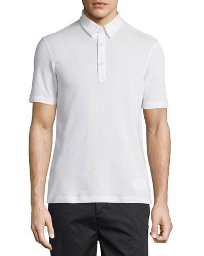 Double-Collar Short-Sleeve Pique Polo Shirt, Optic White