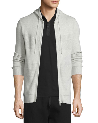 Cashmere-Blend Paneled Full-Zip Hoodie, Sand Heather
